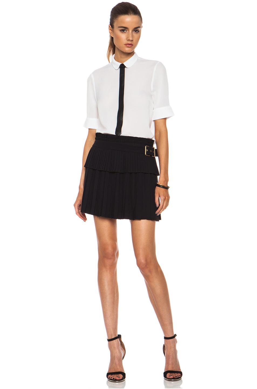 516274912a5b Alexander McQueen Pleated Acetateblend Mini Skirt in Black - Lyst