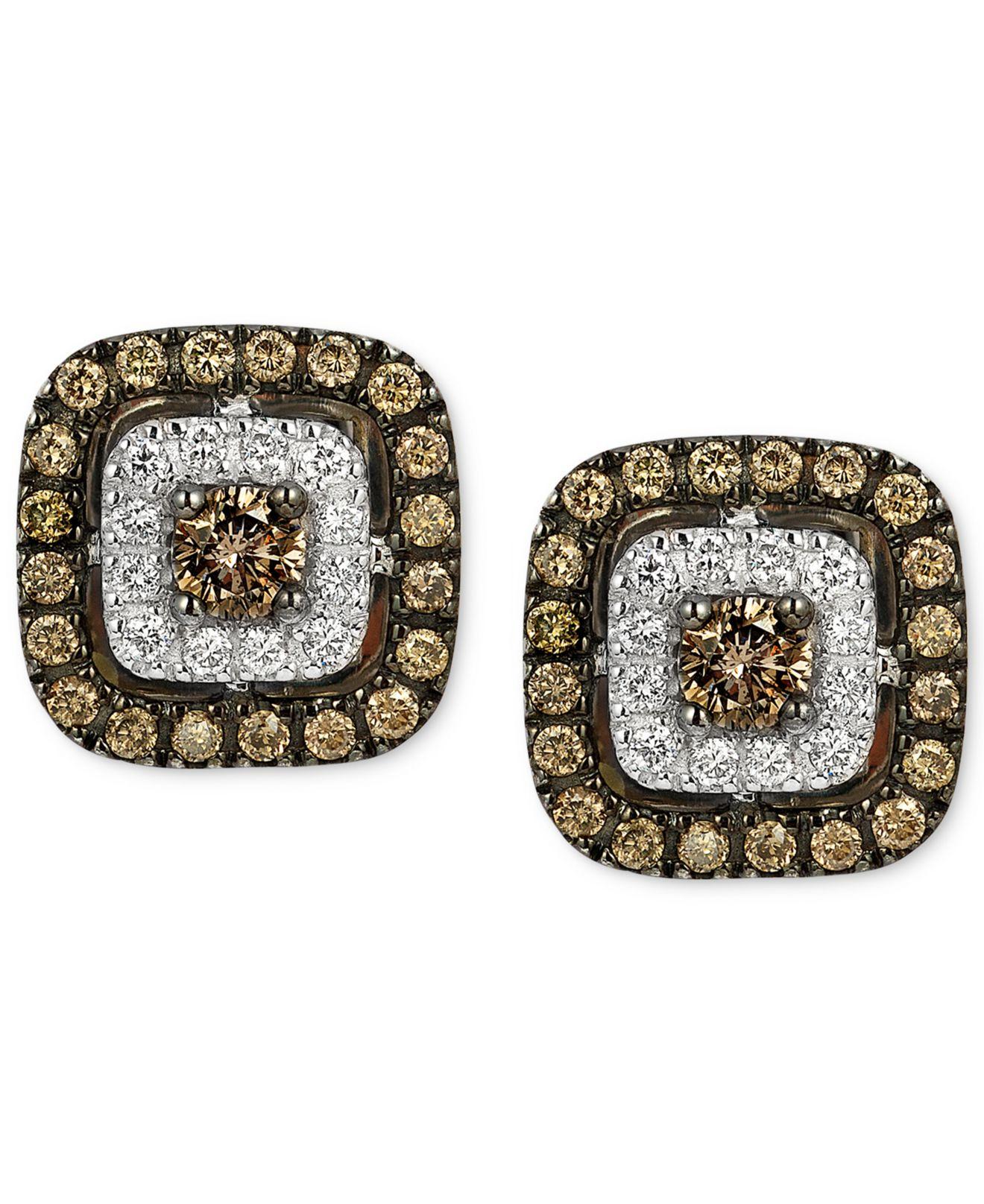 Le vian Chocolatier Brown And White Diamond Stud Earrings In 14k ...