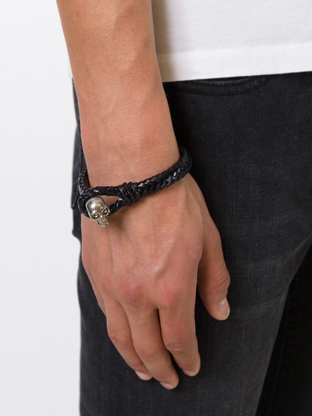 Alexander McQueen Mens Skull-Bead Braided Leather Bracelet bzRnf9Wp