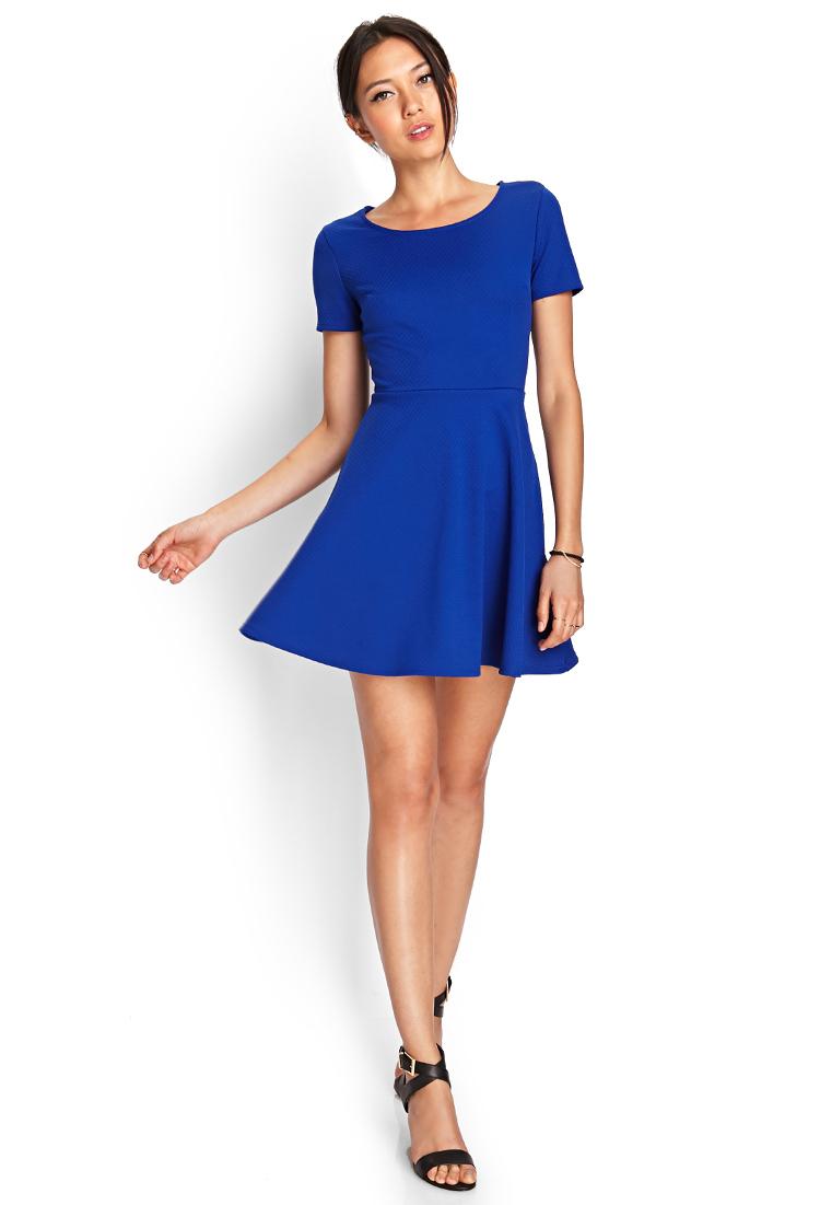 Forever 21 Matelassé Skater Dress in Blue | Lyst