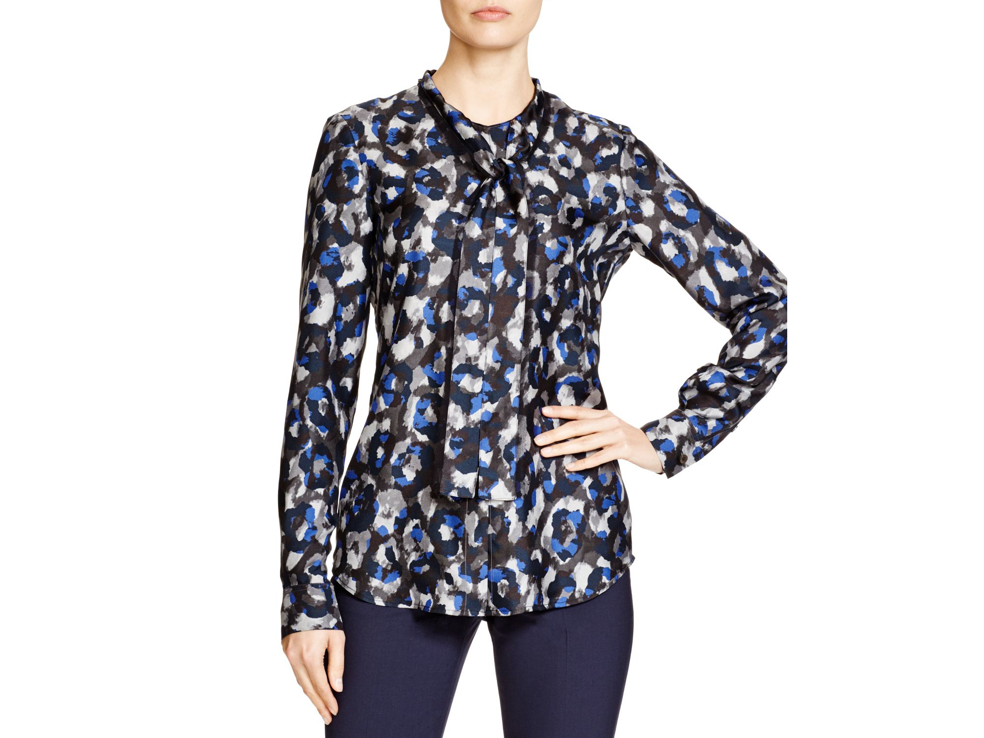 95ab96181ab Theory Raashida Abstract Print Blouse - Bloomingdale's Exclusive in ...
