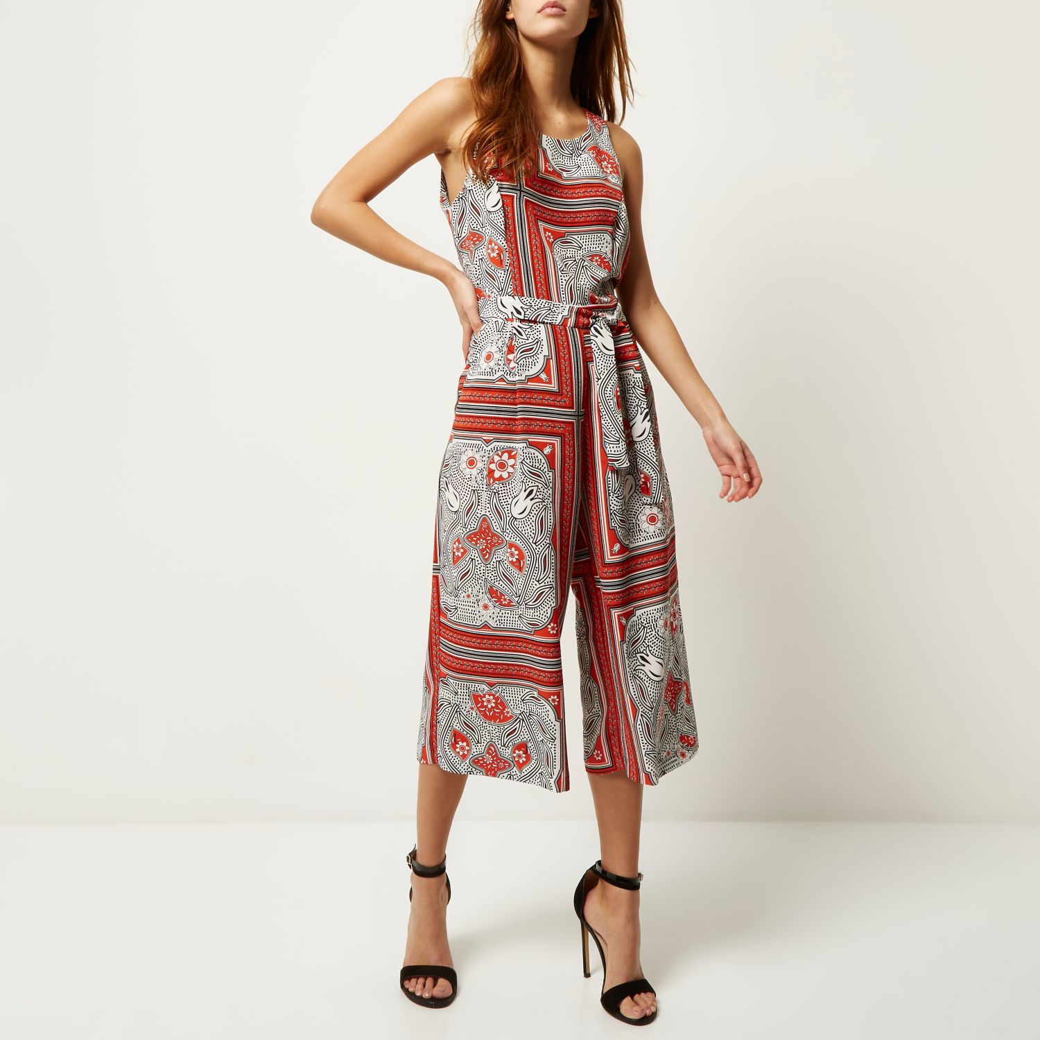 792cad81068 River Island Red Paisley Print Culotte Jumpsuit In Red