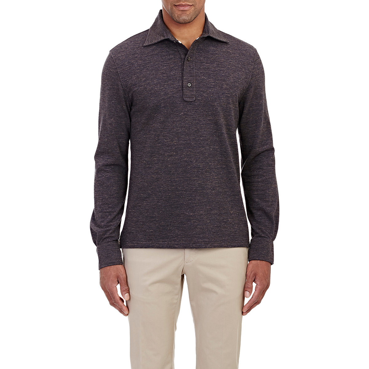 Lyst Isaia Long Sleeve Polo Shirt In Brown For Men