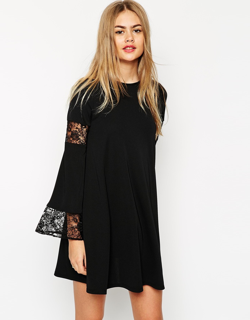 lyst asos boho swing dress with long sleeve and lace inserts in black. Black Bedroom Furniture Sets. Home Design Ideas