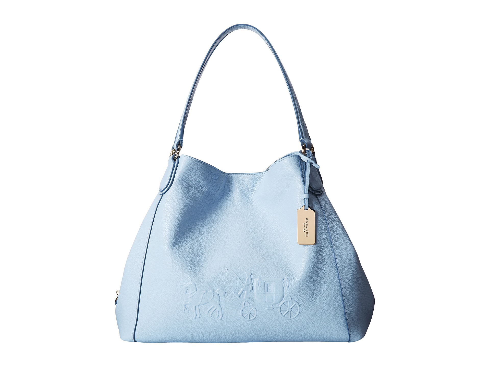facd9fb16cadc ... amazon lyst coach embossed horse carriage edie shoulder bag in blue  4cc84 978e3