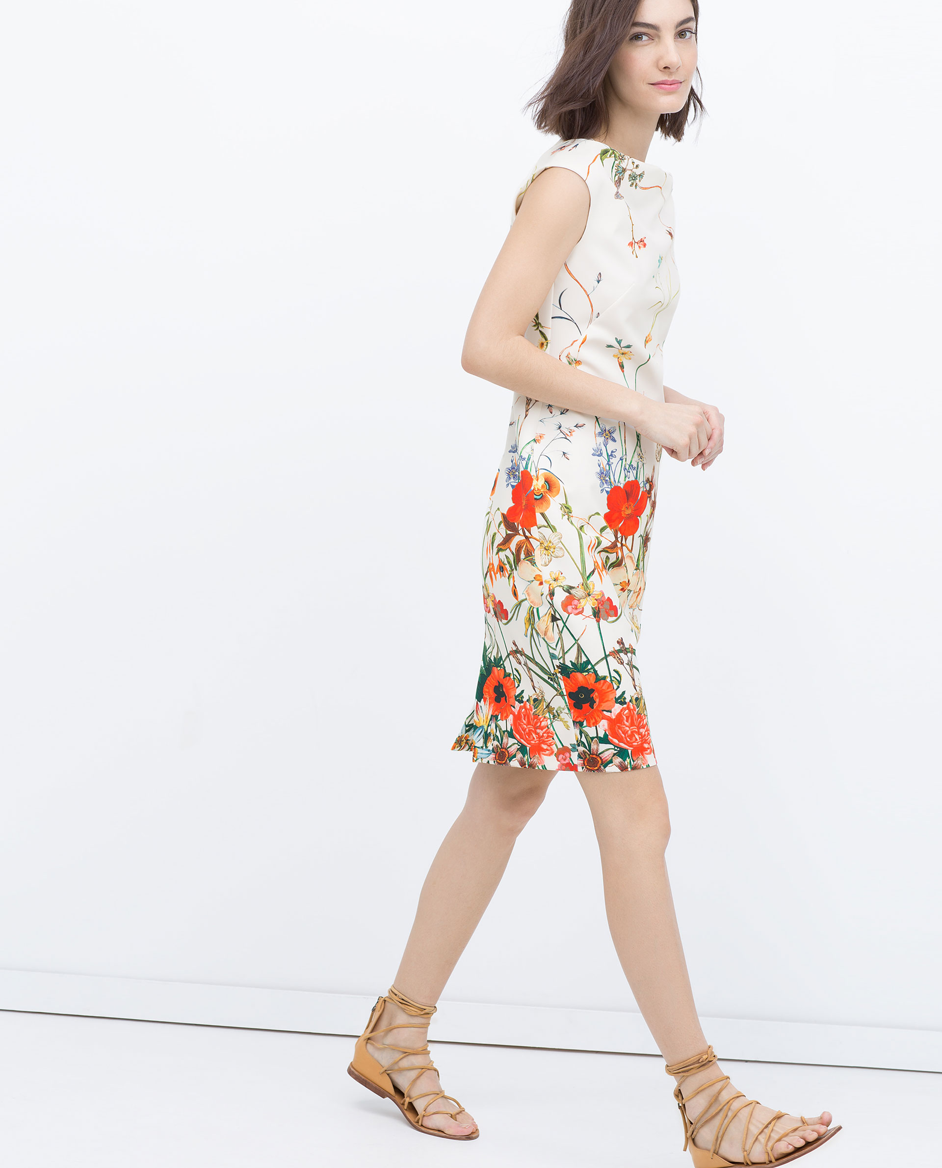 Zara Floral Printed Tube Dress In Multicolor Lyst