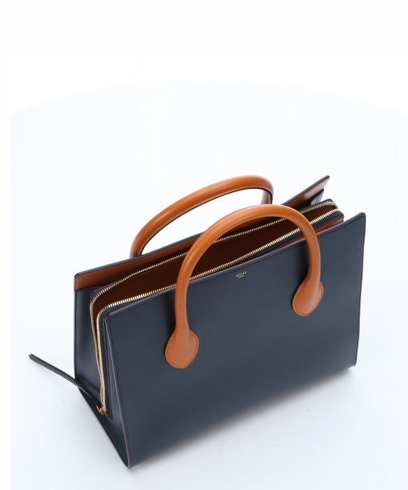 C¨¦line Dark Blue Leather Boxy Top Handle Tote Bag in Blue | Lyst