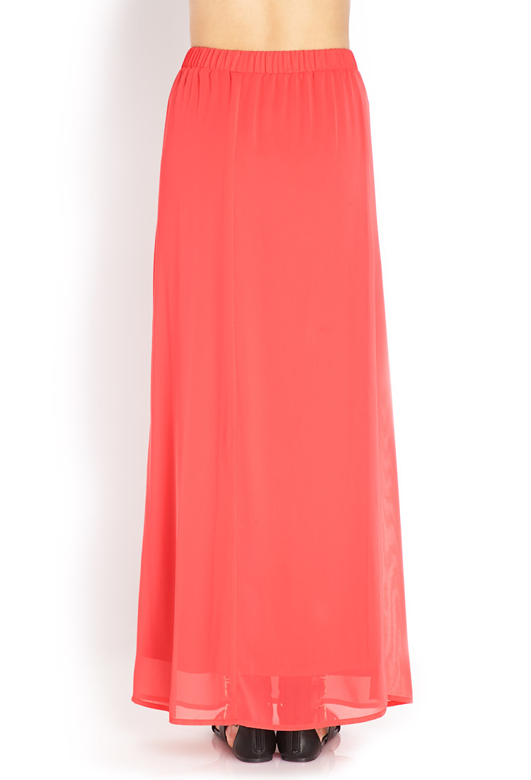 forever 21 simple chiffon maxi skirt in orange lyst