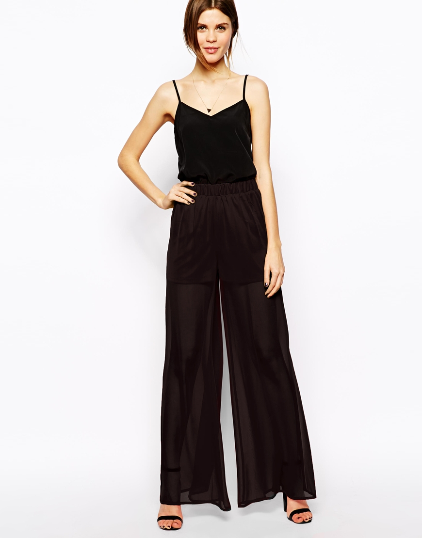 Asos Sheer Wide Leg Pants in Black | Lyst
