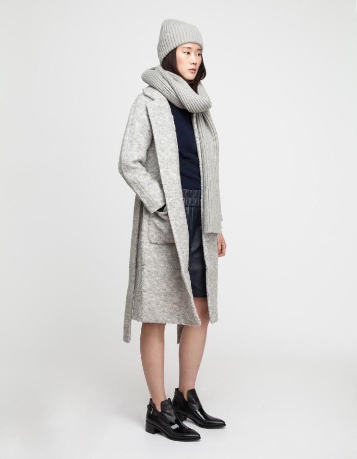 Ganni Teddy Wrap Coat in Gray | Lyst