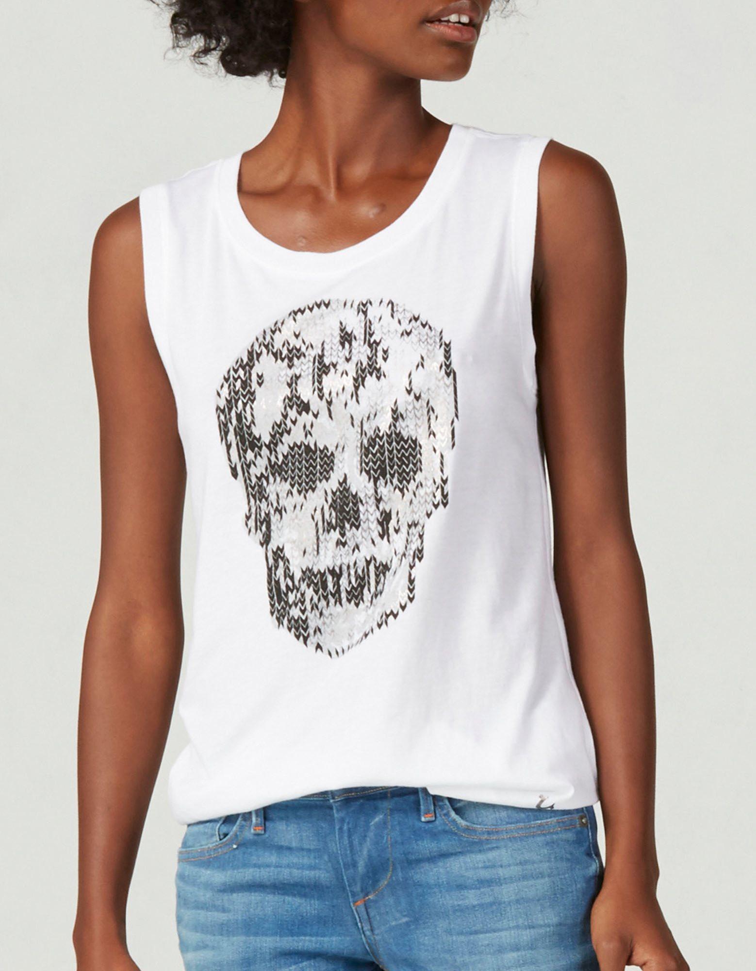 True Religion Skull Sleeveless Womens T Shirt In White