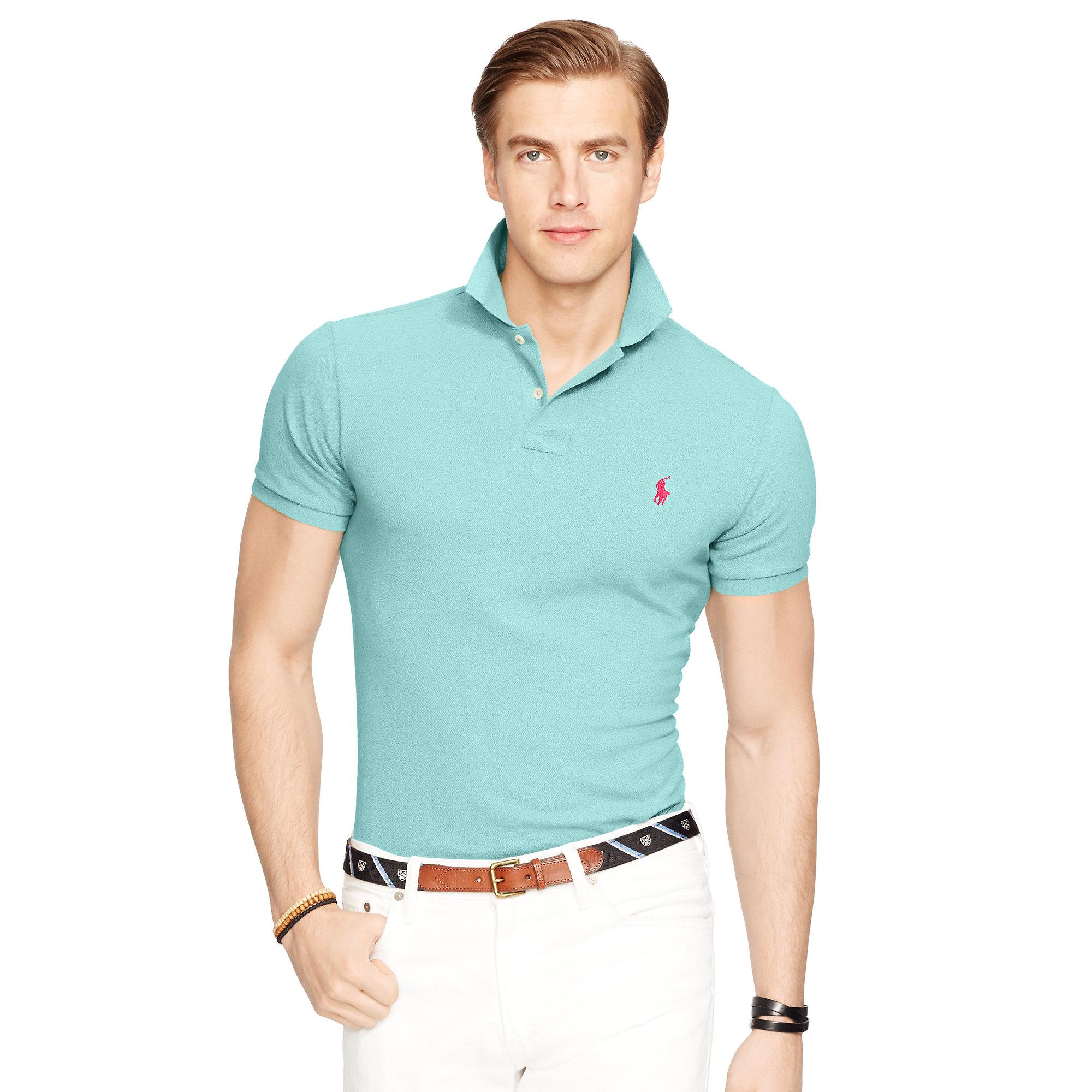 Lyst Polo Ralph Lauren Slim Fit Mesh Polo Shirt In Blue For Men