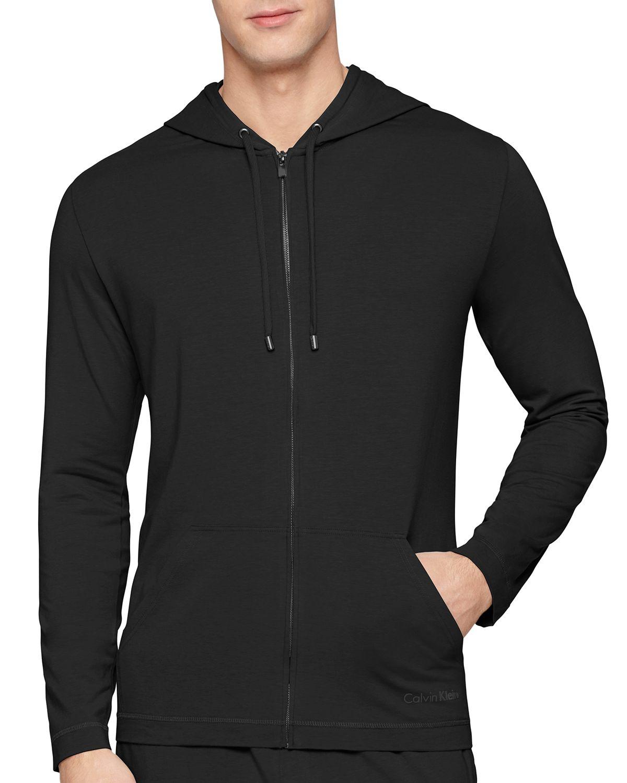 Calvin klein Cotton Modal Zip Up Hoodie in Black for Men | Lyst