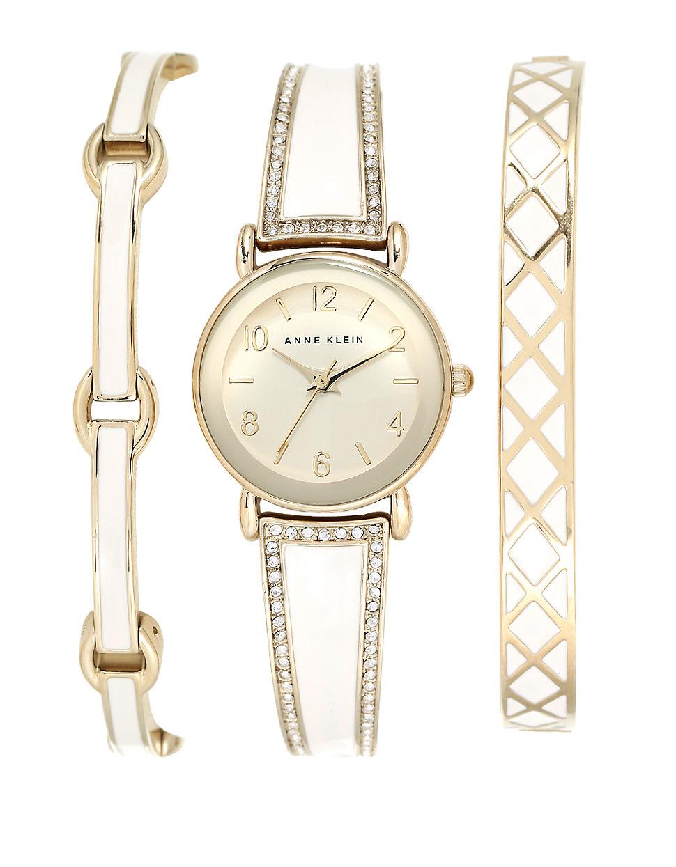 Anne klein 3 piece swarovski crystal goldtone watch and bracelet set in metallic lyst for Anne klein swarovski crystals