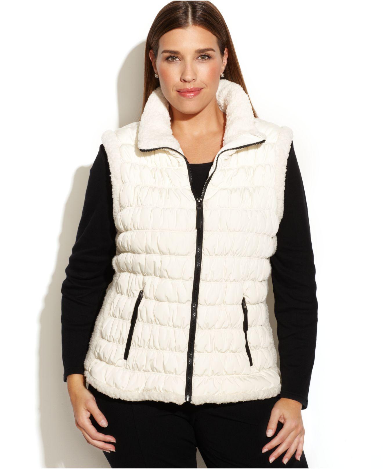 f7d5ac14f8 Calvin Klein Performance Plus Size Faux-shearling-trim Puffer Vest ...