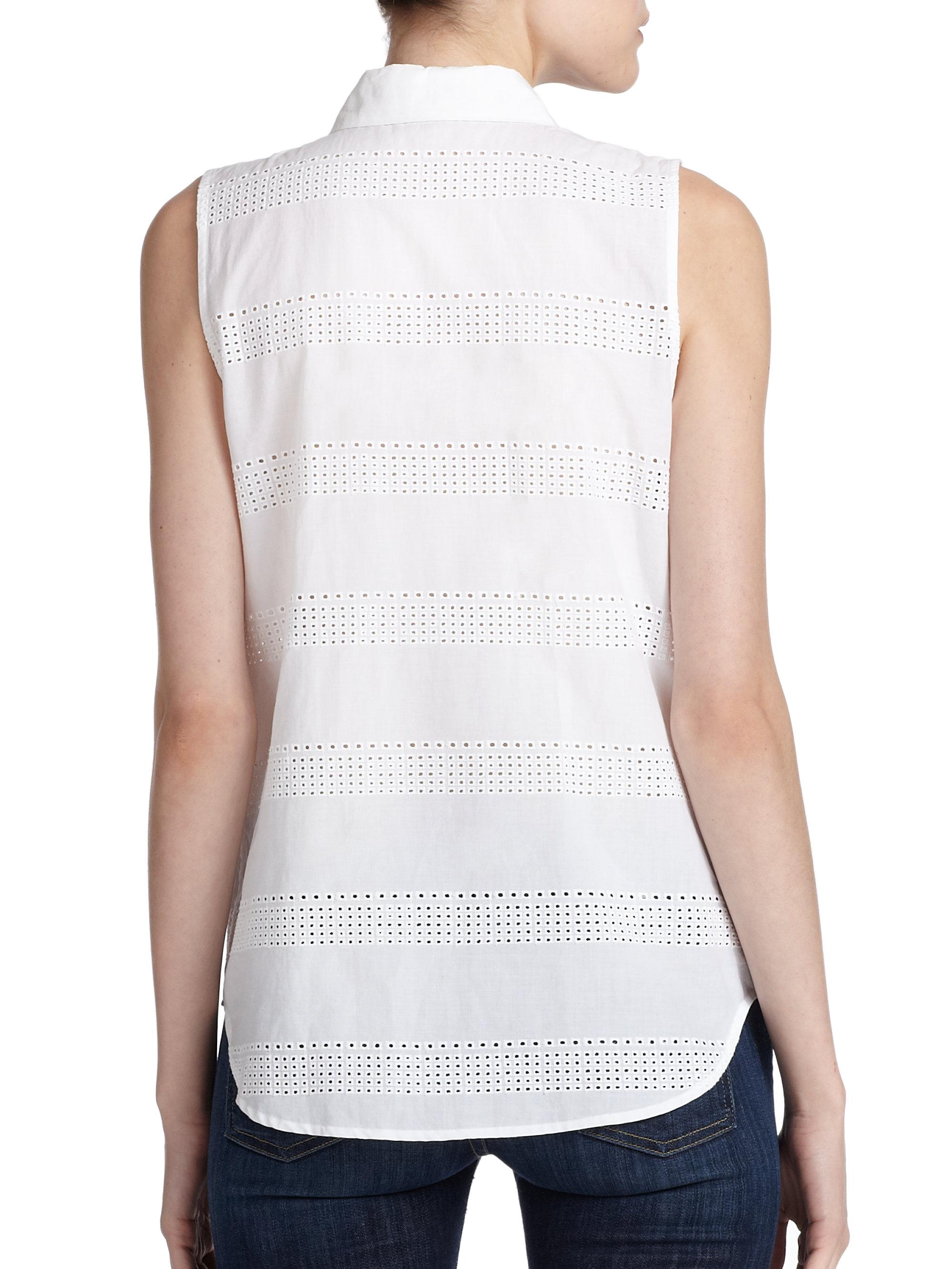 60dd90b9d17044 Lyst - Equipment Colleen Eyelet Cotton Sleeveless Shirt in White