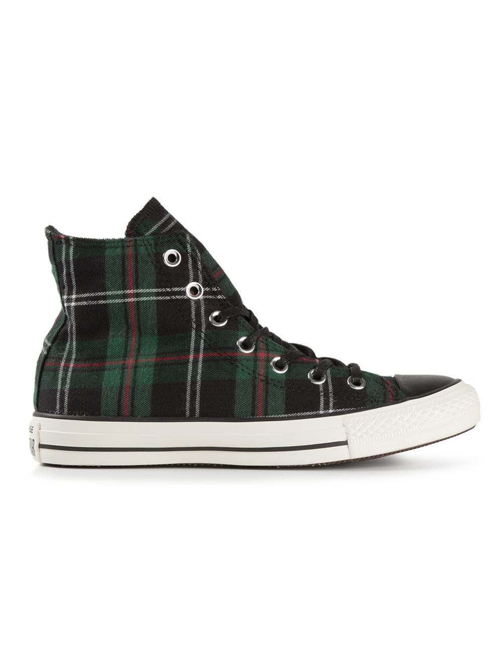 2a6b748fd18 Lyst - Converse Tartan Hi-Top Sneakers in Green