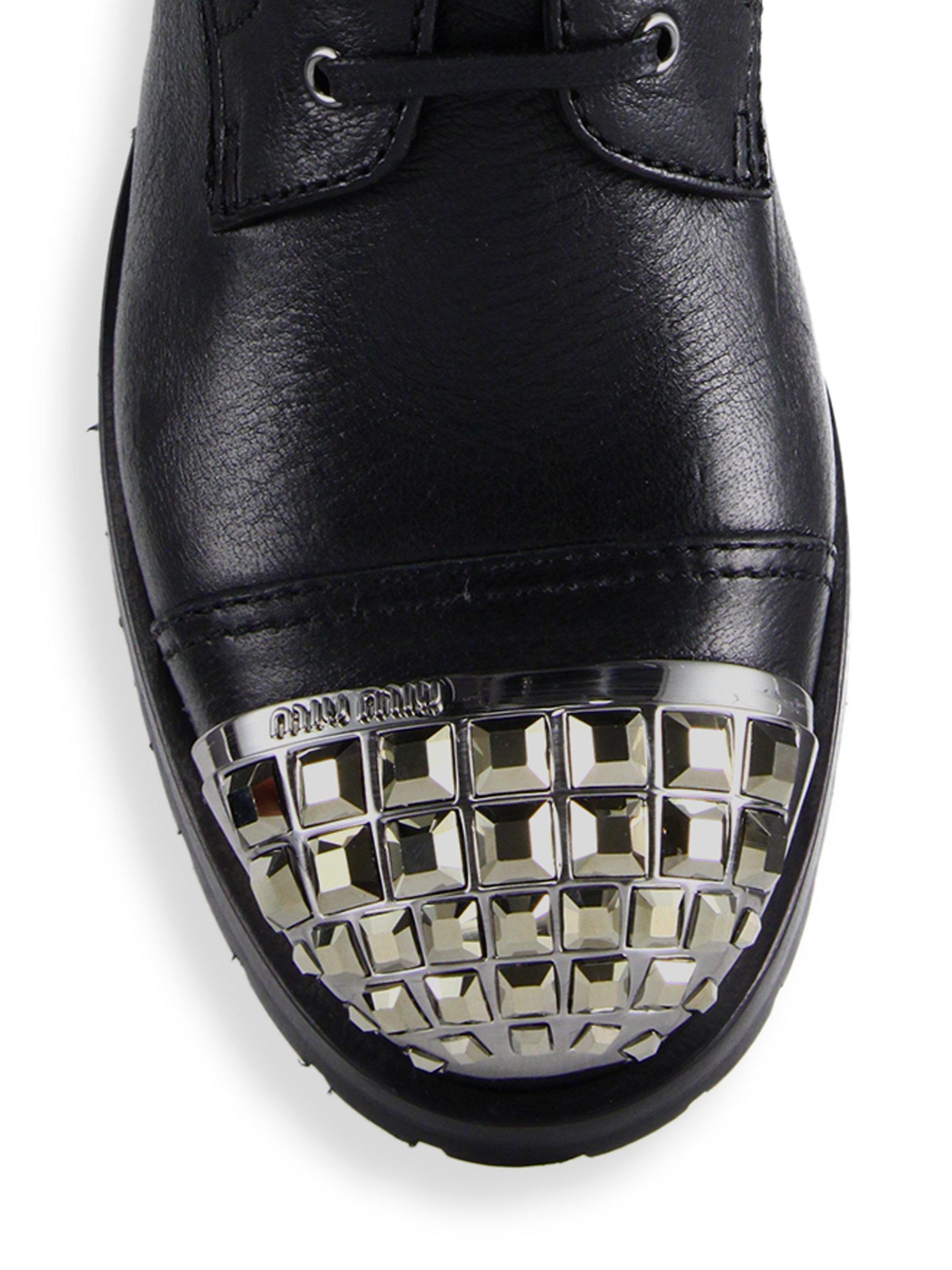 Lyst Miu Miu Leather Jewel Toe Combat Boots In Black