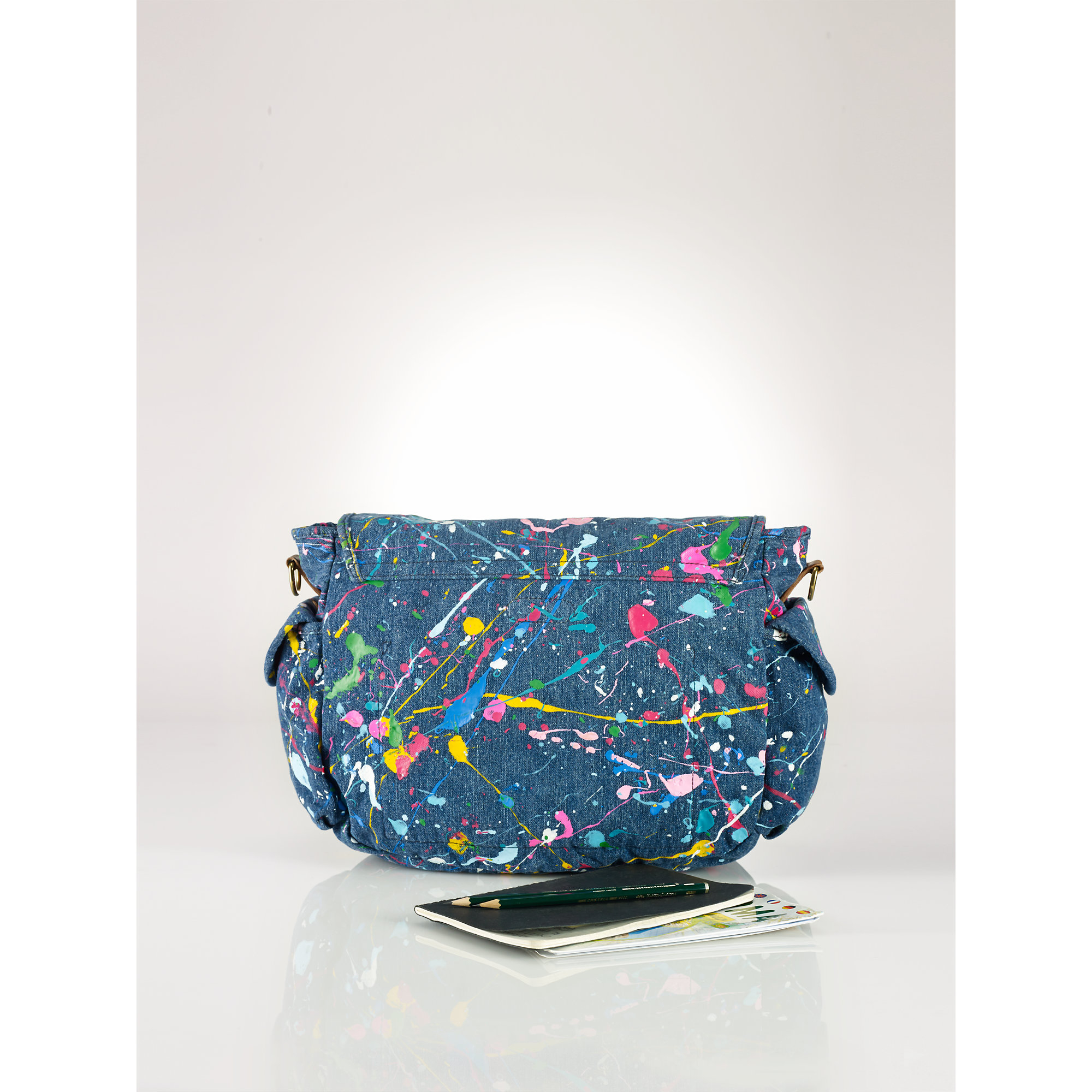 Polo Ralph Lauren Paint Splatter Messenger Bag In Blue Lyst