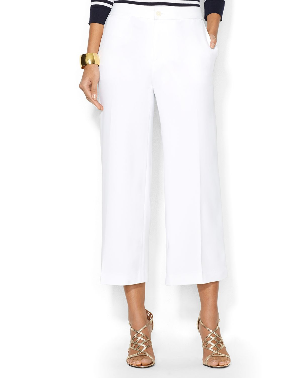Ralph lauren Lauren Gaucho Pants in White | Lyst