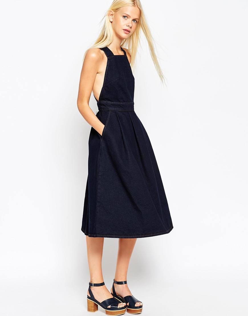 7cd08c9b2889 ASOS Denim Cross Back Midi Dress In Dark Wash in Blue - Lyst