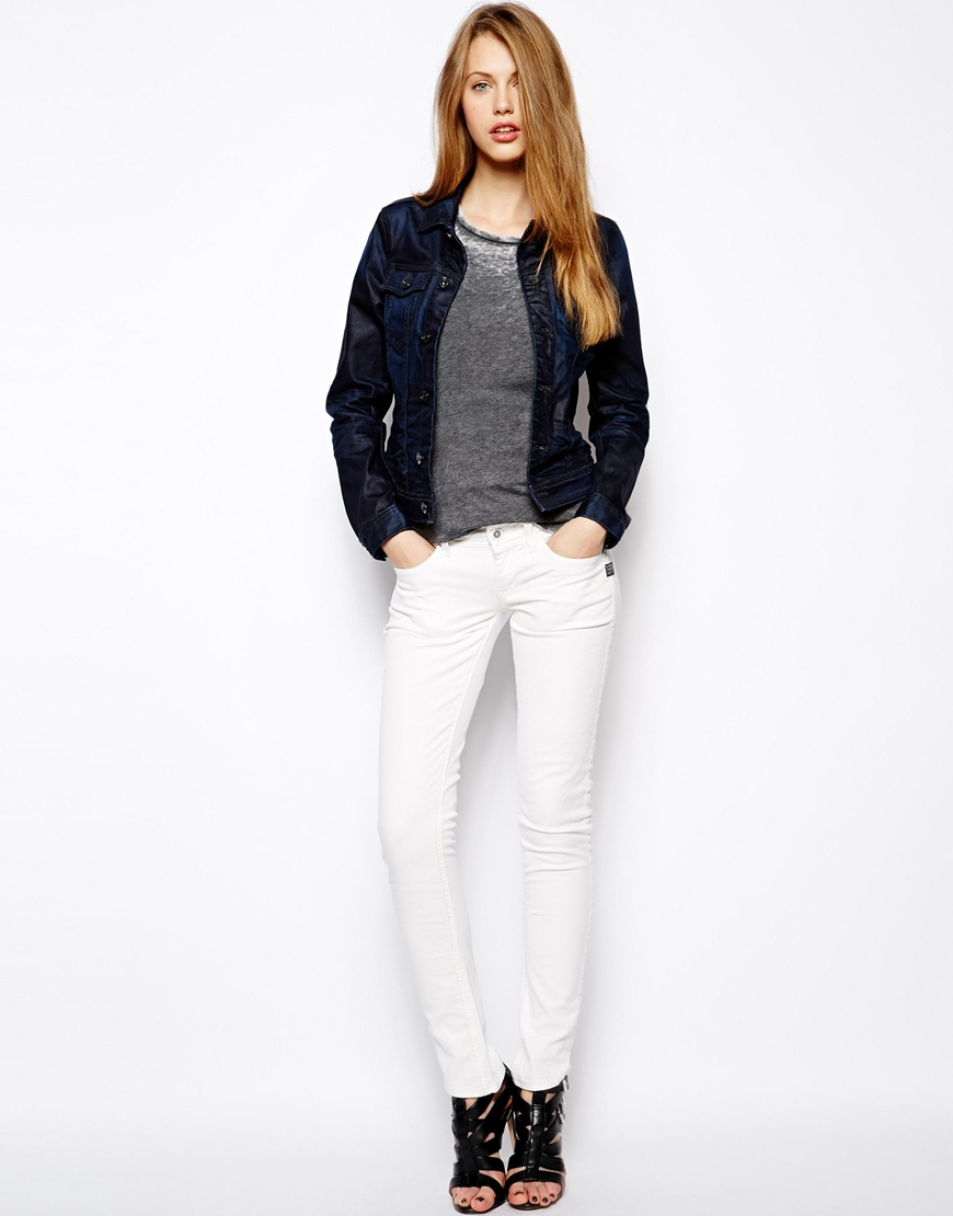 g star raw lynn skinny jeans in white rinsed lyst. Black Bedroom Furniture Sets. Home Design Ideas