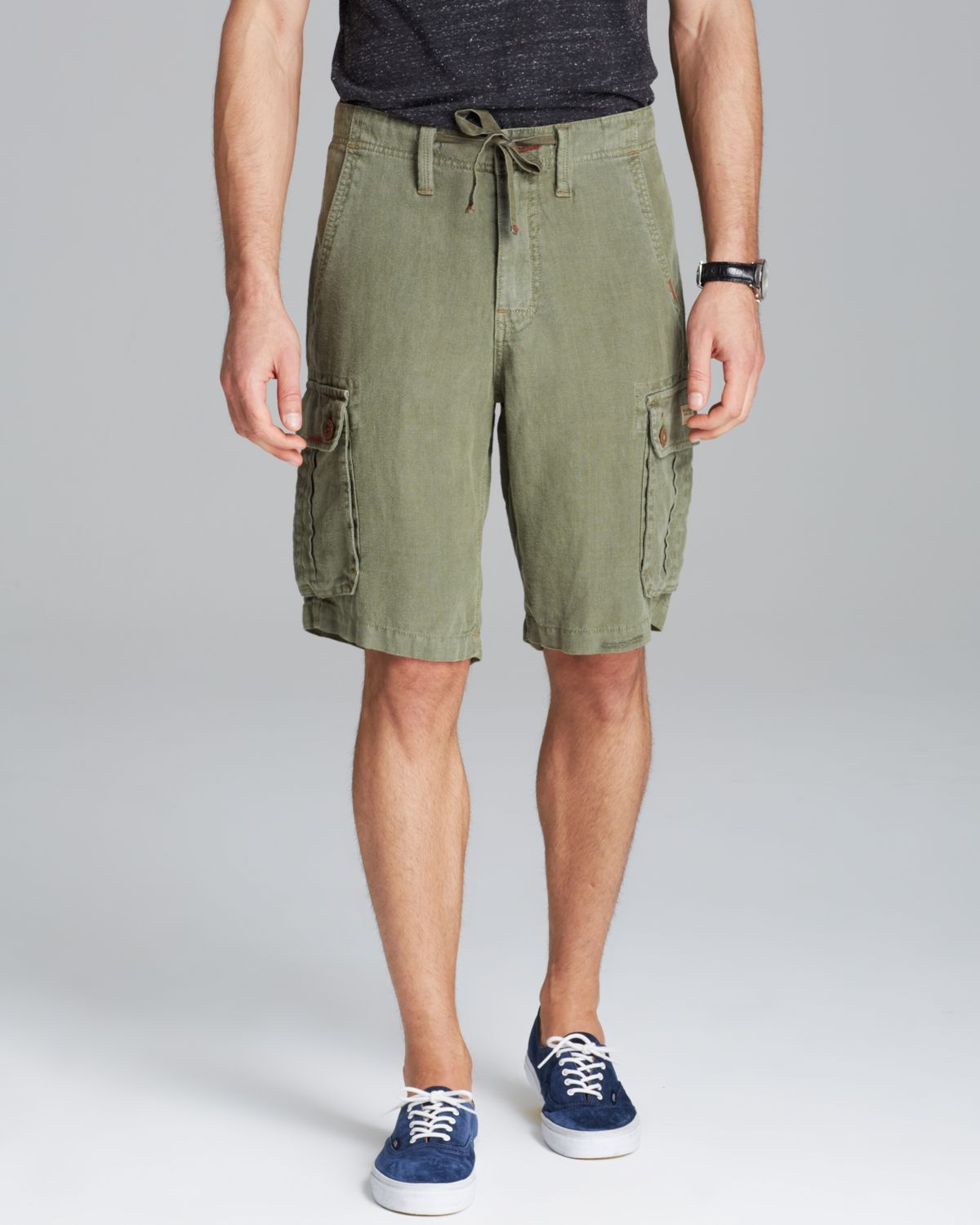 True religion Recon Linen Cargo Shorts in Green for Men | Lyst