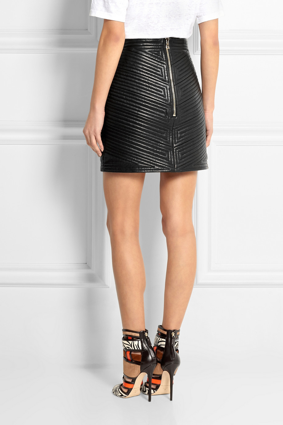 a34393b745 Black Quilted Leather Mini Skirt