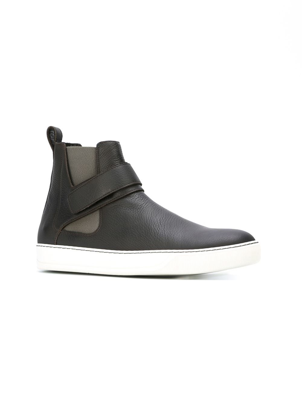 lanvin ankle boots in brown for lyst