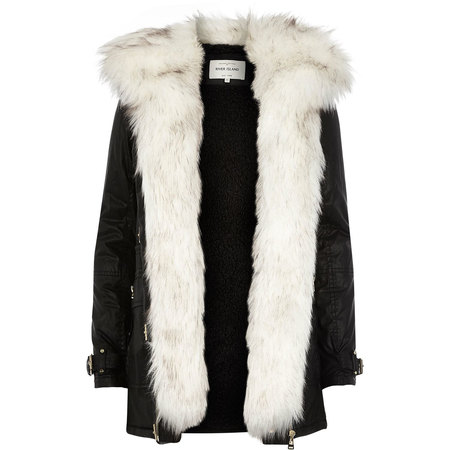 River Island Parka Jacket With Faux Fur