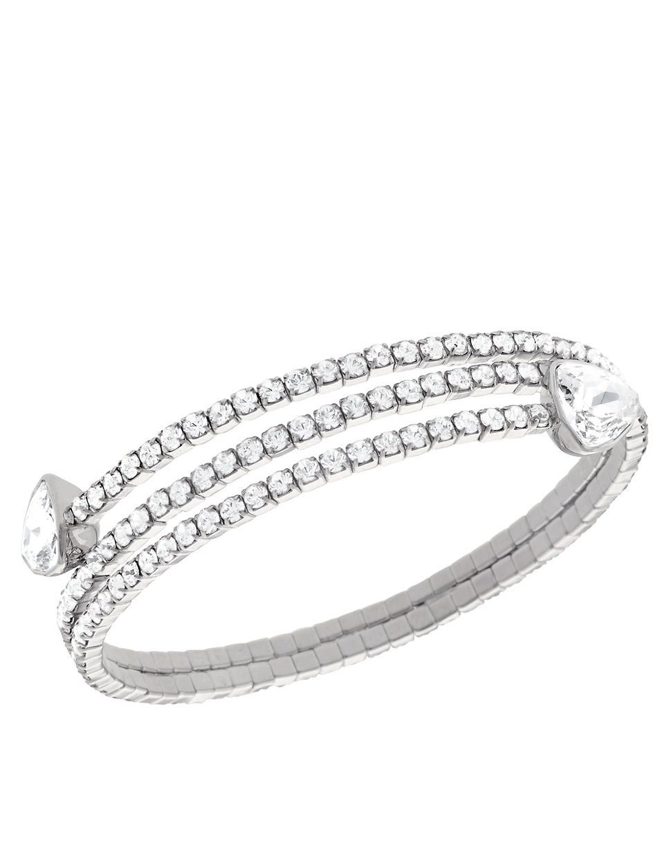 Swarovski Twisty Silver Tone Crystal Triangle Bangle Bracelet In