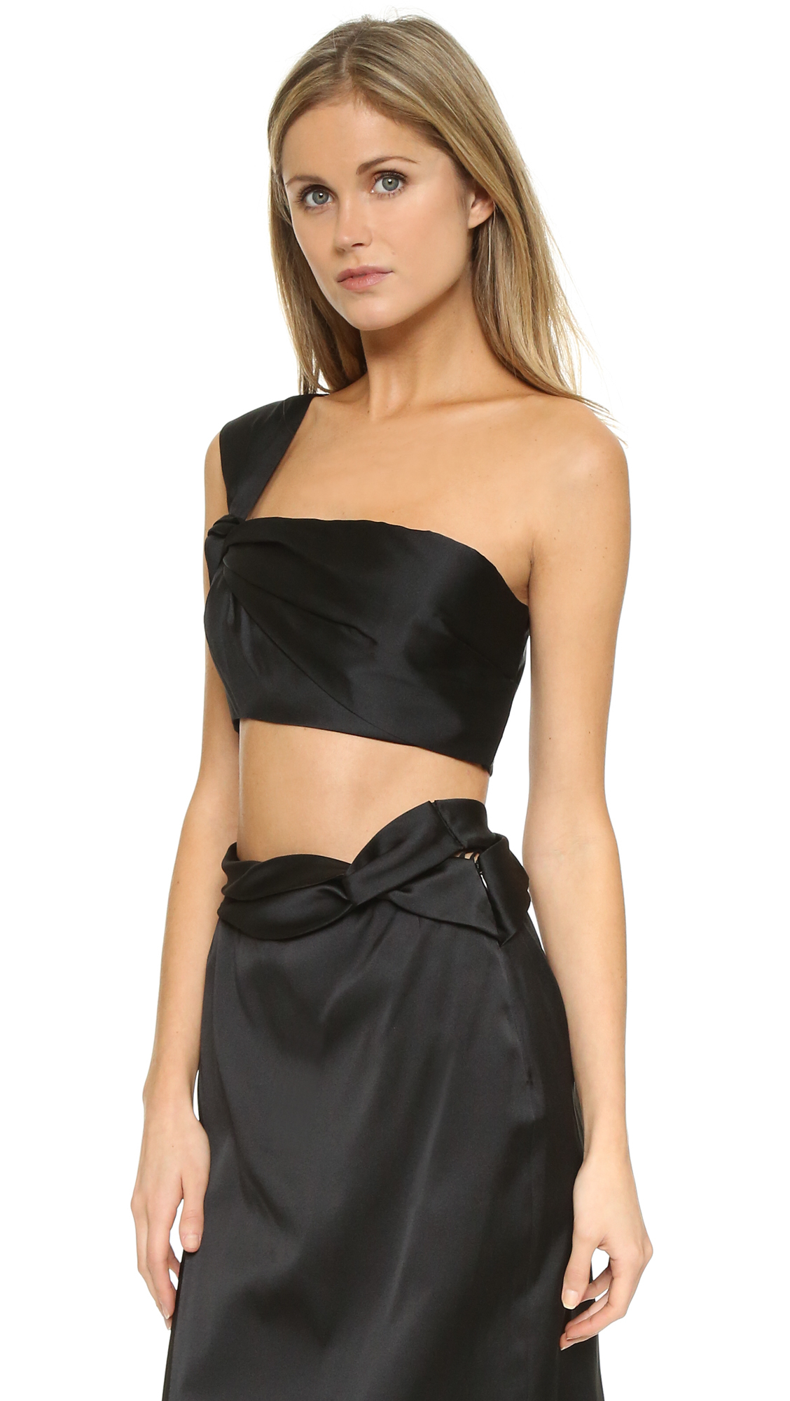 6fd64e22e4620 Lyst - 3.1 Phillip Lim One Shoulder Knotted Crop Top in Black