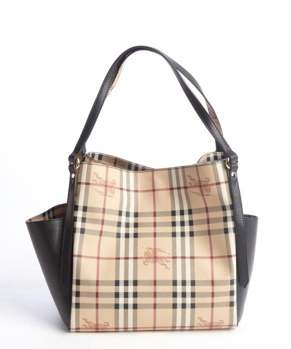 Lyst - Burberry Black Leather Nova Check Coated Canvas Dual Side Pocket Shoulder  Bag in Black