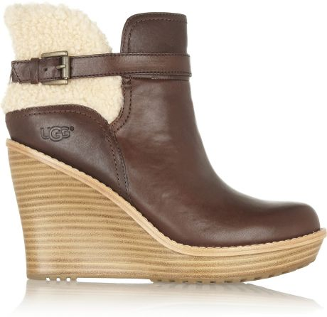 ugg anais shearling and leather wedge ankle boots in brown