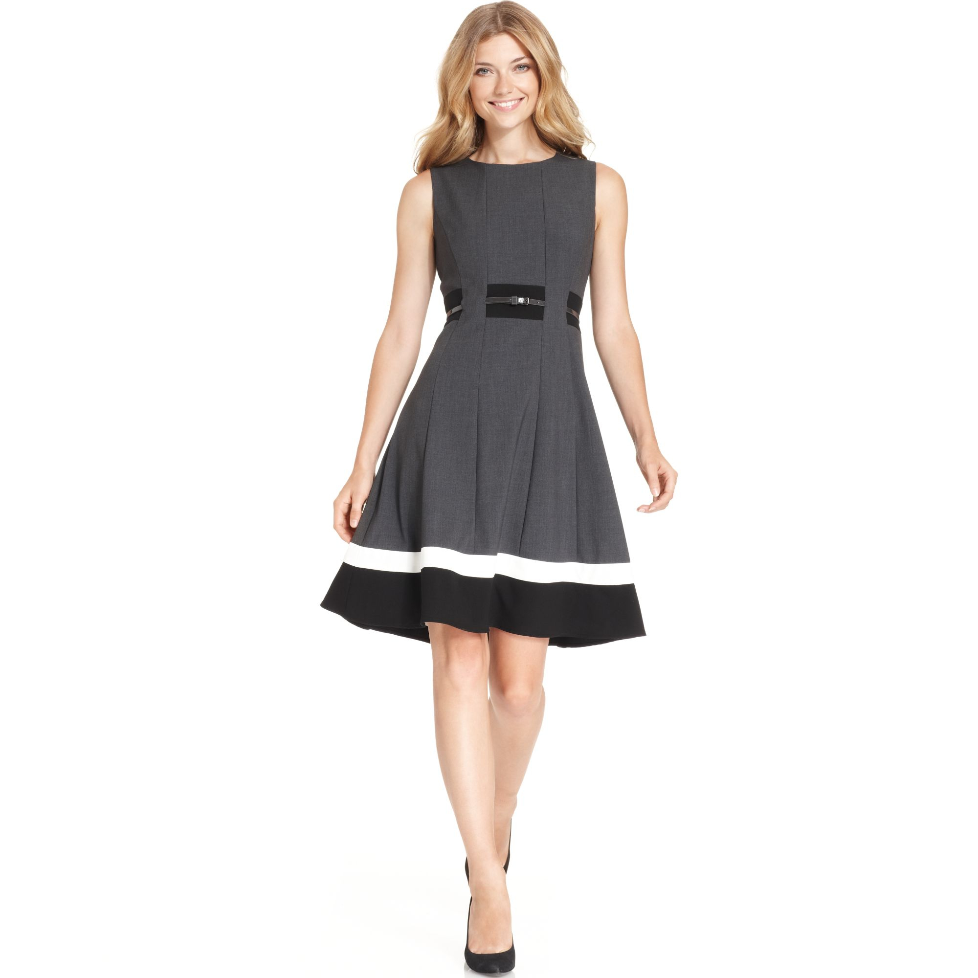 Calvin Klein Colorblocked Belted Fit Amp Flare Dress In Gray