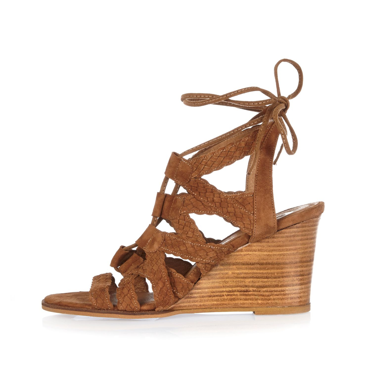 10e669156280 Lyst - River Island Tan Suede Braided Lace-up Wedge Heels in Brown