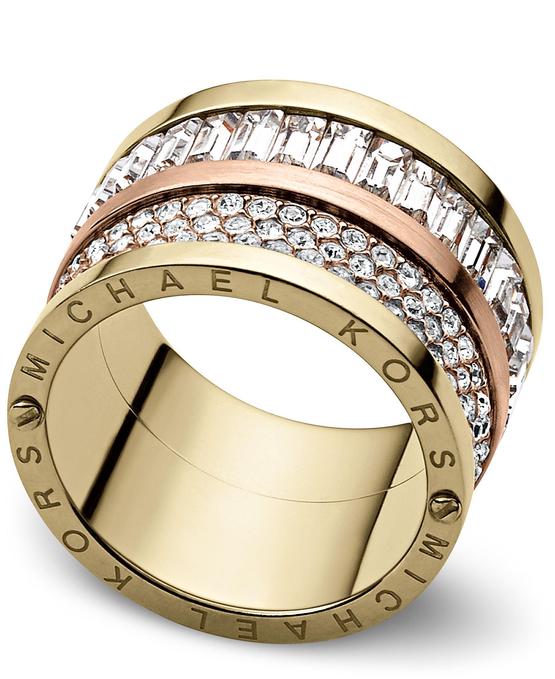 michael kors brilliance pave barrel ring ring size o s. Black Bedroom Furniture Sets. Home Design Ideas