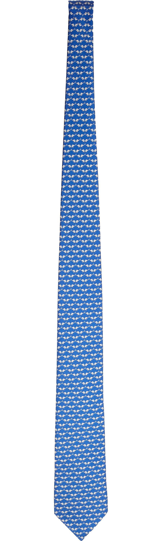 Ferragamo Bird-Print Tie in Blue for Men - Lyst