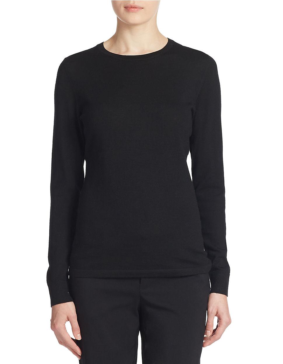 Lord Taylor Merino Wool Basic Crewneck Sweater In Black