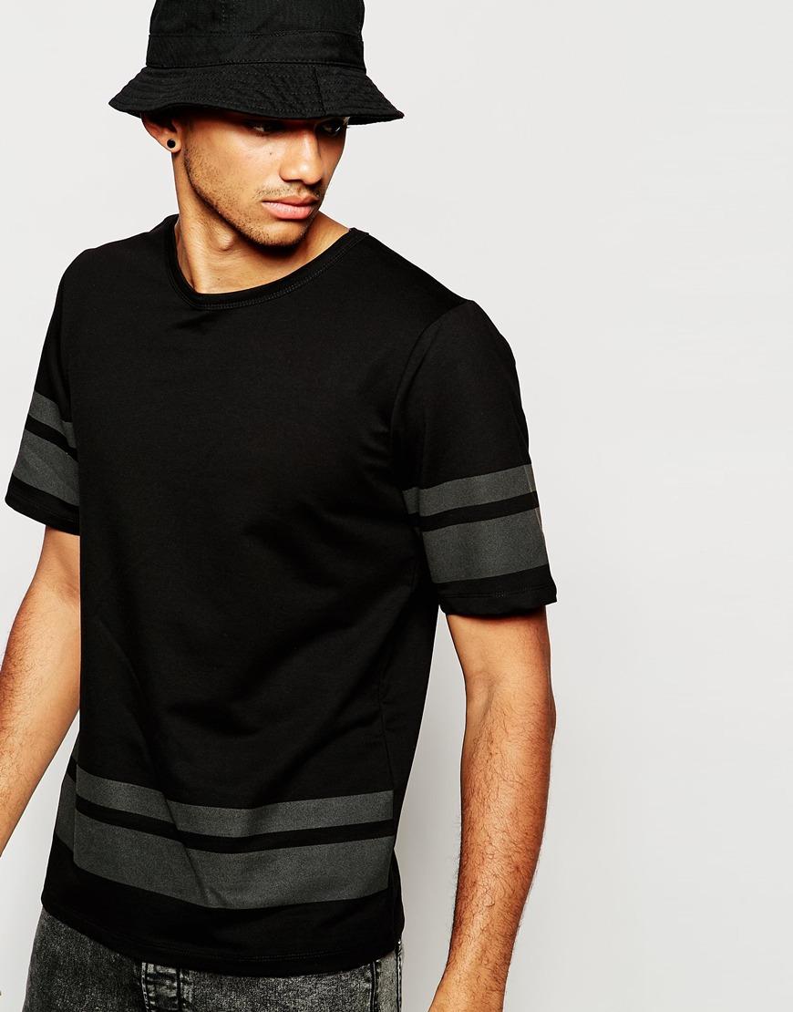 jack jones t shirt with reflective hem stripe in black. Black Bedroom Furniture Sets. Home Design Ideas