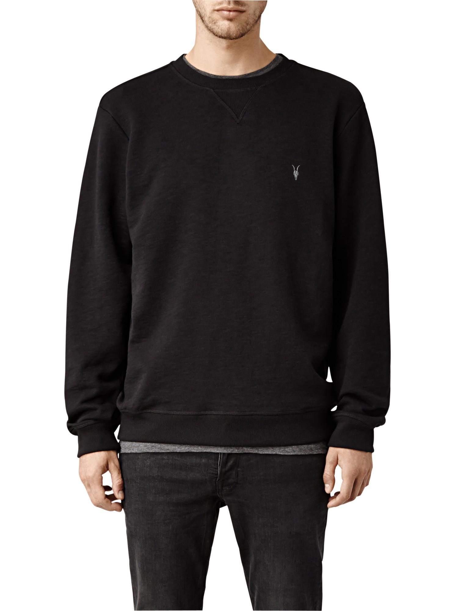 Allsaints Wilde Crew Neck Sweatshirt in Black for Men