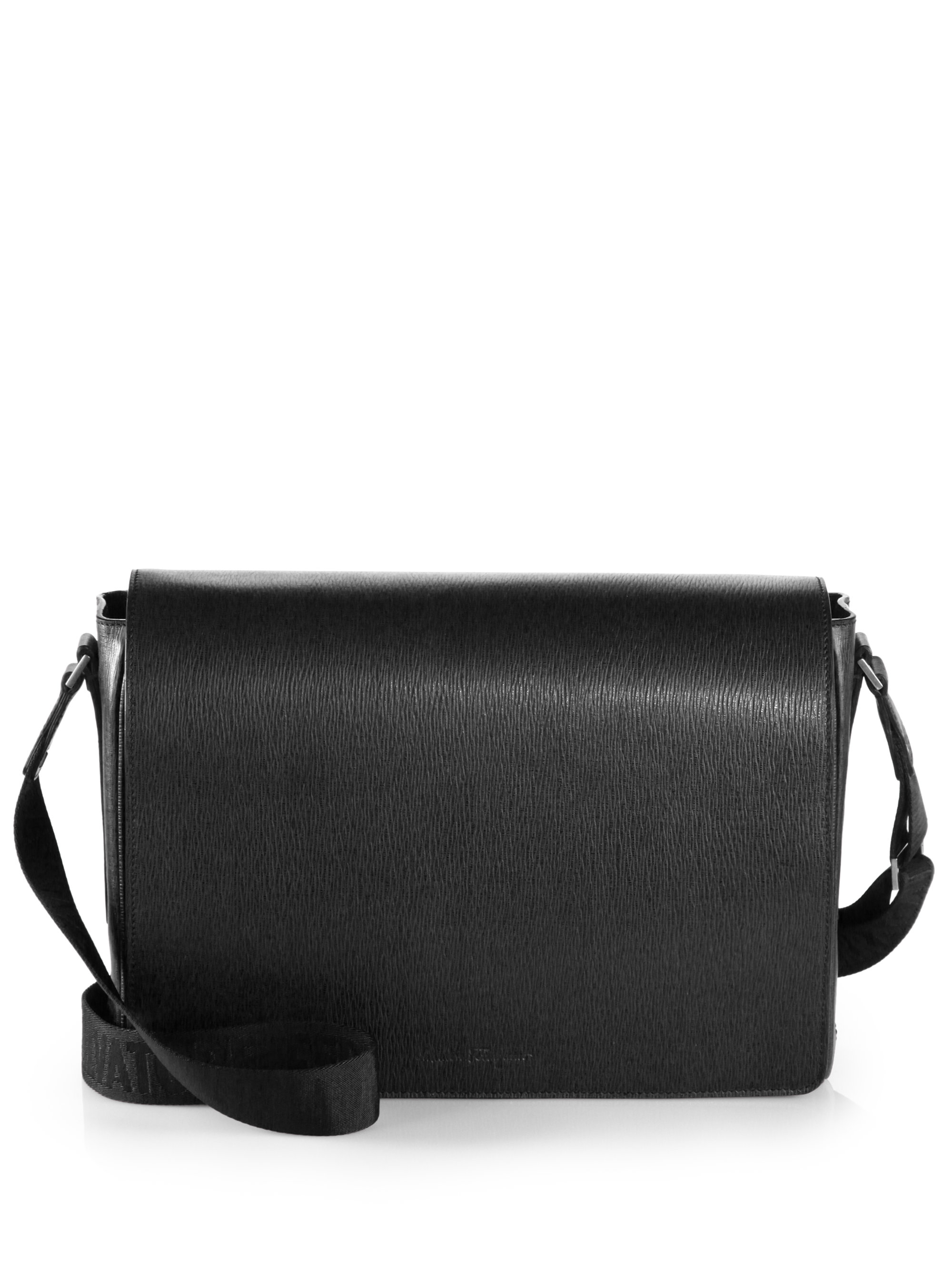Ferragamo Leather Messenger Bag in Black for Men | Lyst