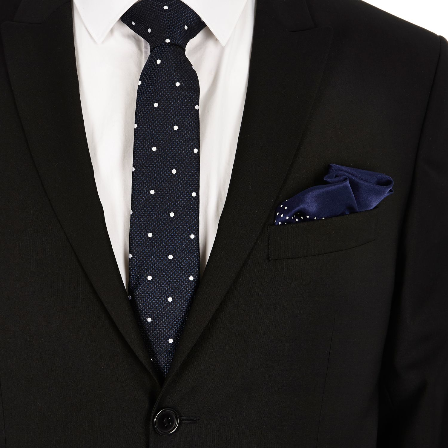 62a0fce42a92 River Island Navy Silk Polka Dot Tie And Pocket Square Set in Blue ...