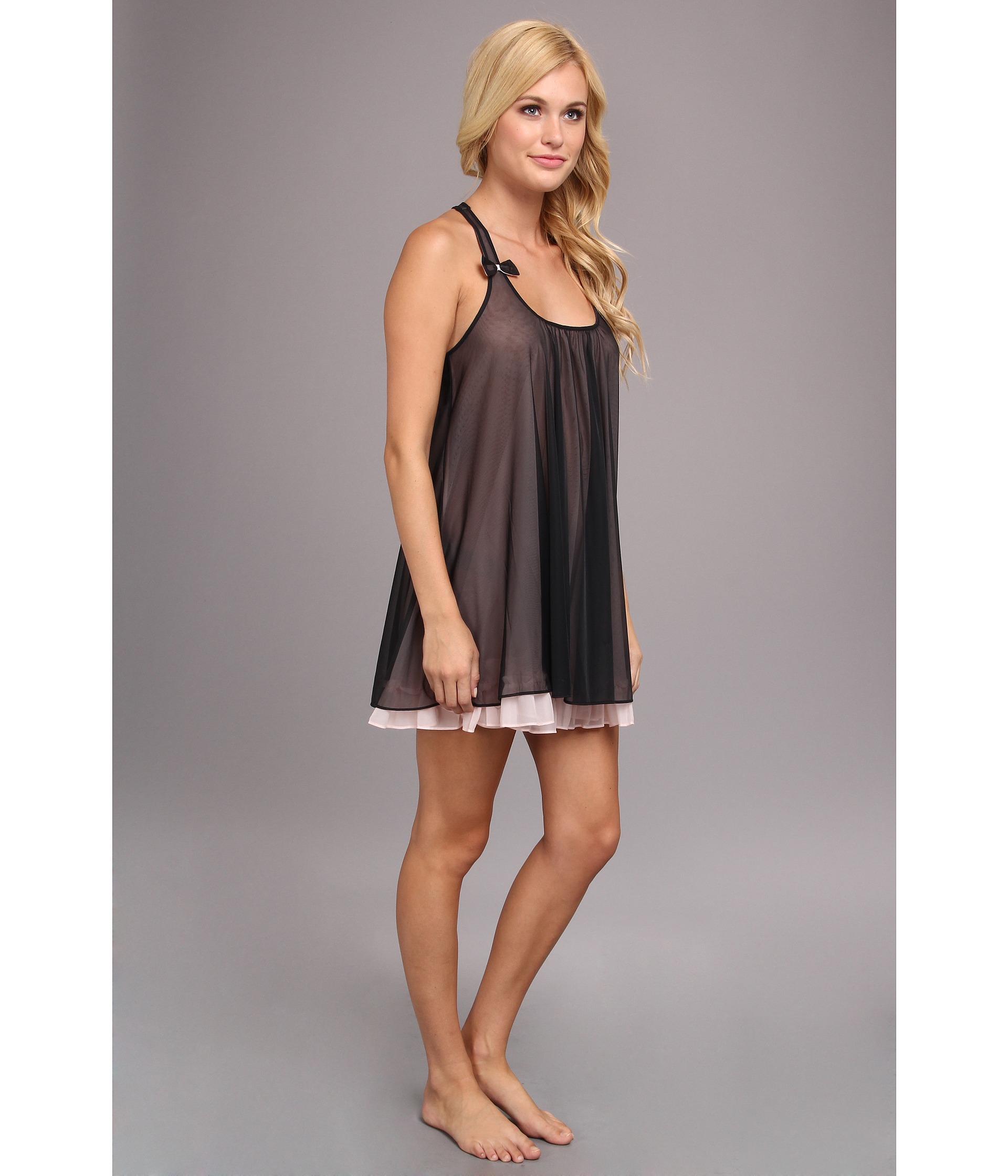 Betsey Johnson Sassy Double Layer Tricot Slip In Black Lyst