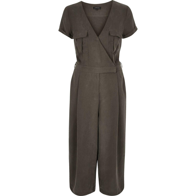 1150e891e546 Lyst - River Island Khaki Smart Minimal Culotte Jumpsuit in Gray