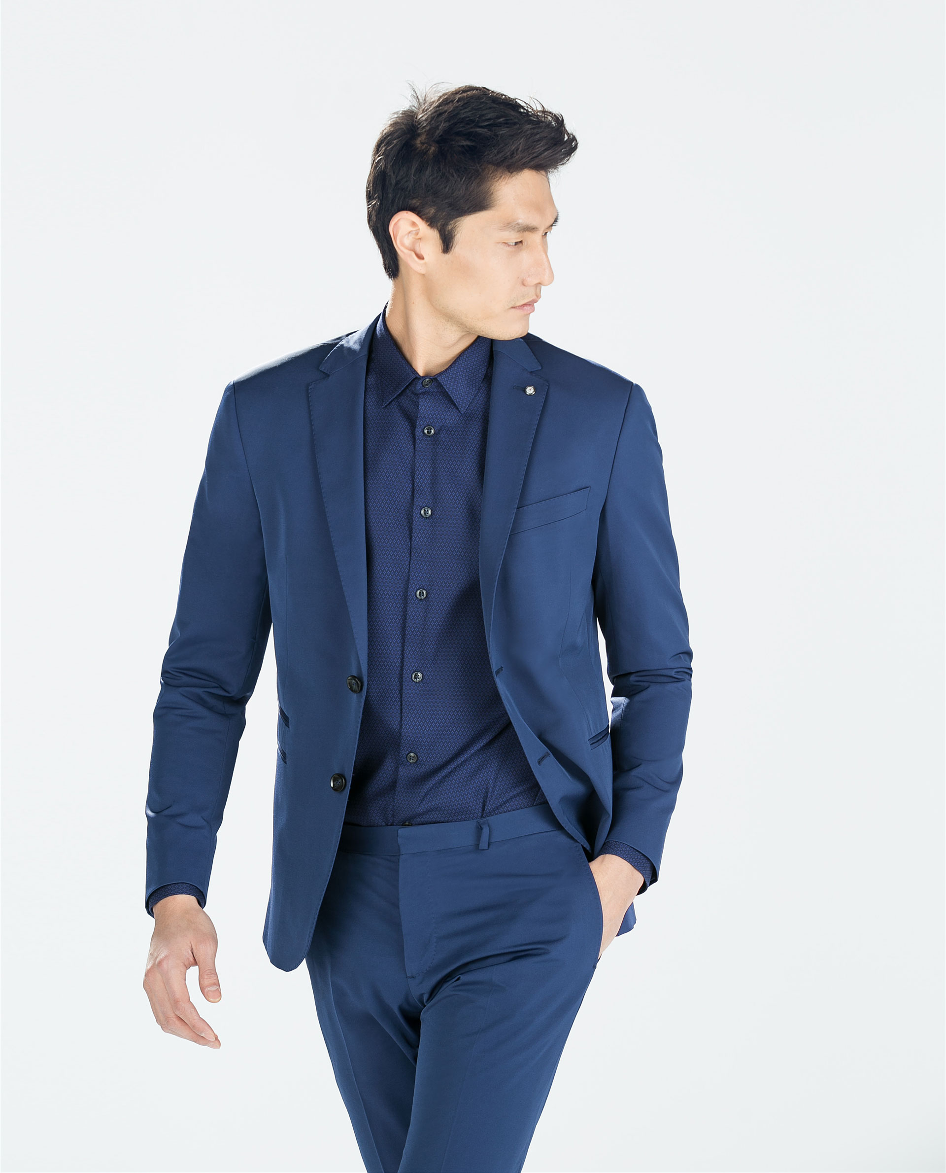 Zara Ink Blue Jacket in Blue for Men | Lyst