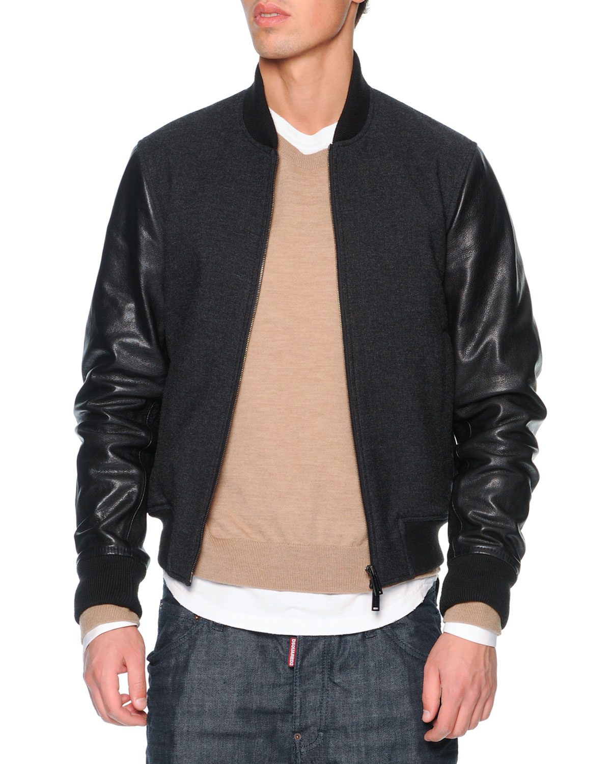 Dsquared² Wool Bomber Jacket With Leather Sleeves in Black | Lyst