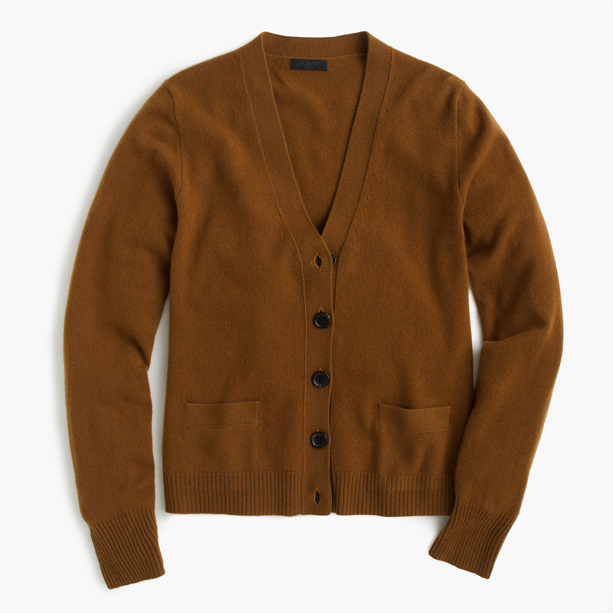 J.crew Italian Cashmere Short Cardigan Sweater in Brown | Lyst