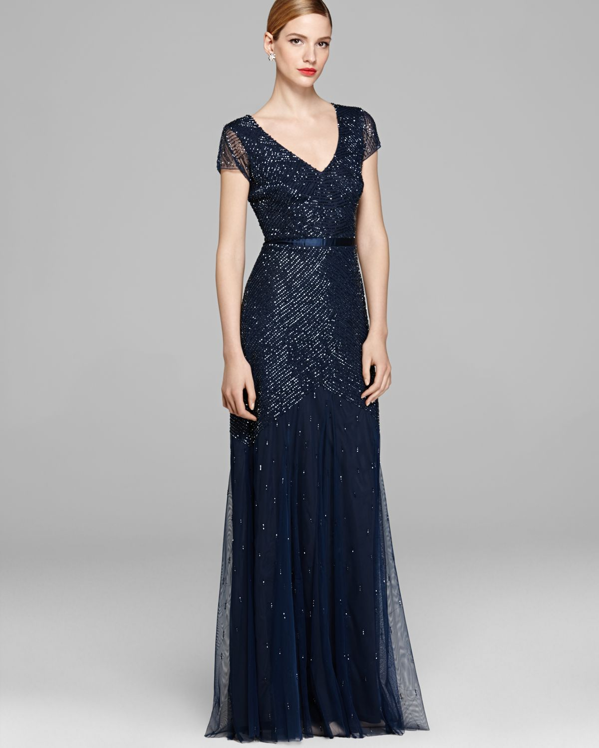 Adrianna Papell Gown Cap Sleeve Beaded In Blue Navy Lyst