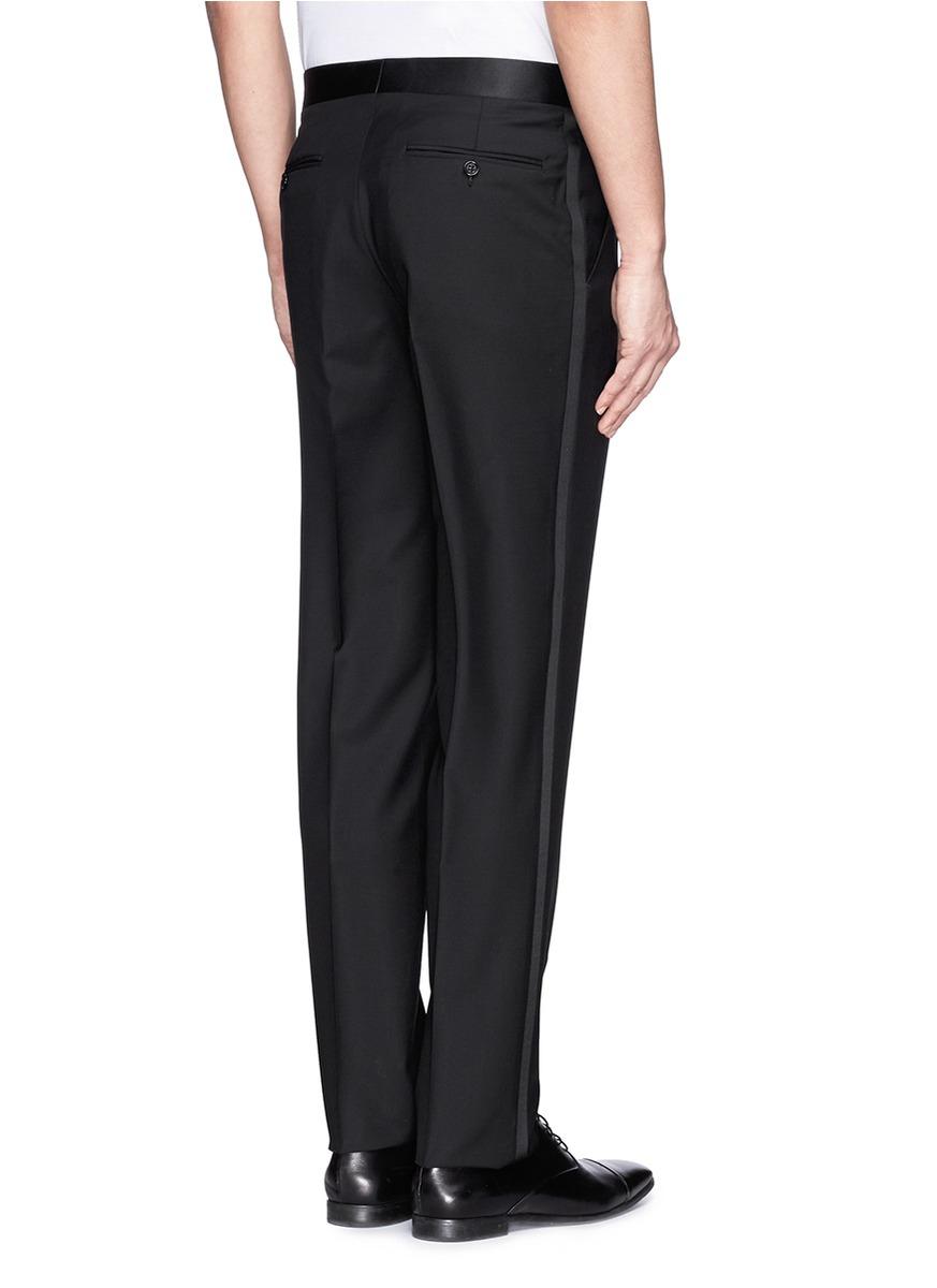 Canali Satin Stripe Tuxedo Pants In Black For Men Lyst